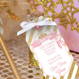 Ballet Party Favor Tags | Pink and Gold Ballerina Favors