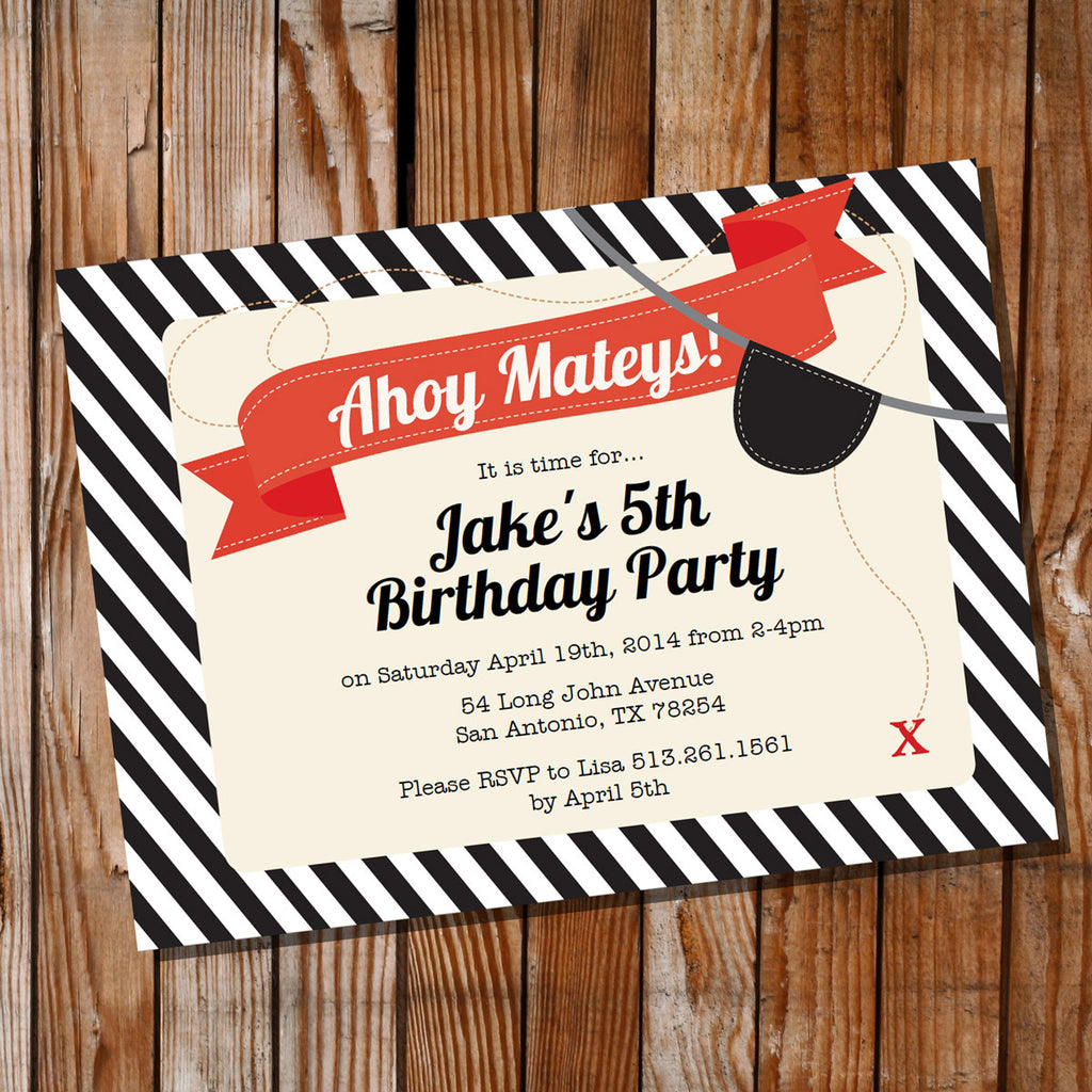 Pirate Birthday Party Invitation for a Boy | Pirate Treasure Hunt ...