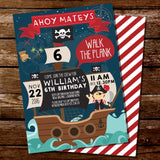 Pirate Birthday Party Invitation for a Boy | Pirate Ship Invite Template
