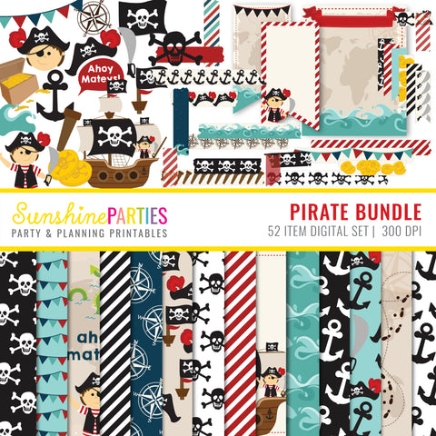 Boys Pirate Digital Paper Set | Digital Paper Bundle, Tags, Washi Tape, Clipart