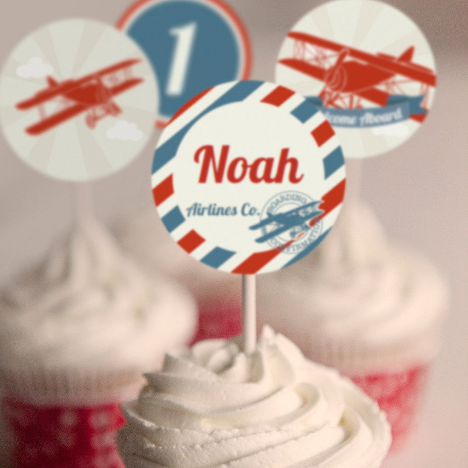 Vintage Airplane Party Cupcake Toppers | Airplane Party Toppers