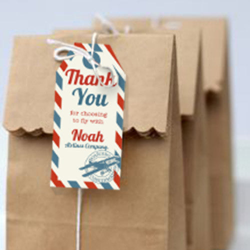 Vintage Airplane Ticket Party Favor Tags | Airplane Favors