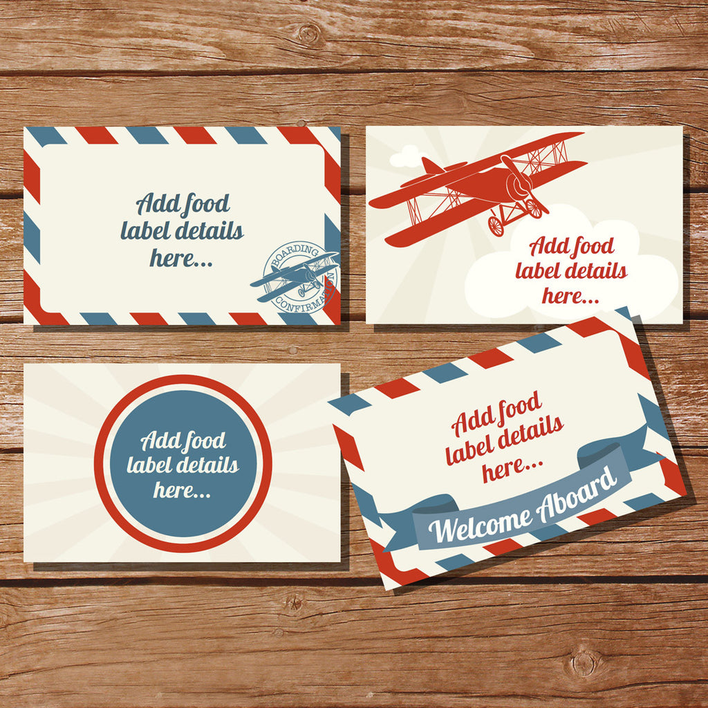 Vintage Airplane Ticket Party Food Labels | Tent Cards