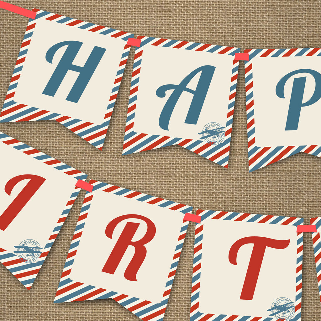 Vintage Airplane Ticket Party Happy Birthday Banner