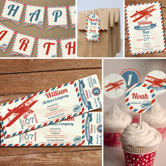 Vintage Airplane Ticket Party Decorations Airplane Party Decor