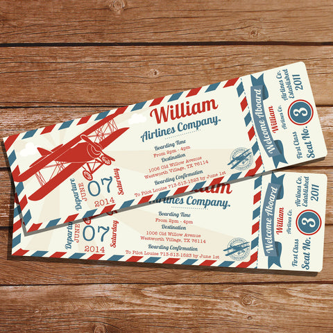 Vintage Airplane Ticket Party Invitation