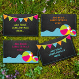 Summer Pool Party Food Label Tent Cards