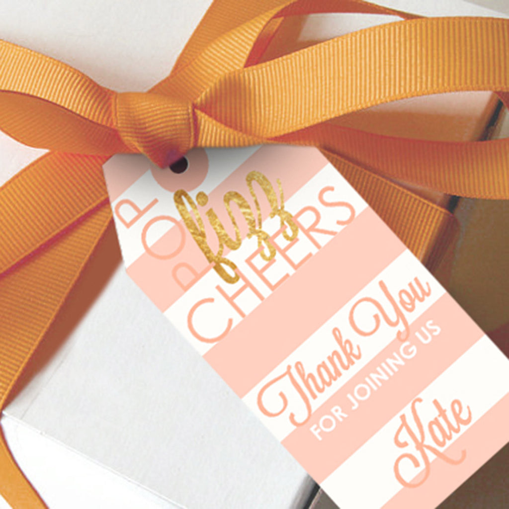 Pink and Gold Favor Tags | Champagne Party Favors
