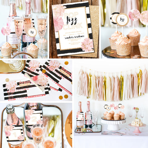 Pop Fizz Clink Champagne Tasting Party Printable Party Set
