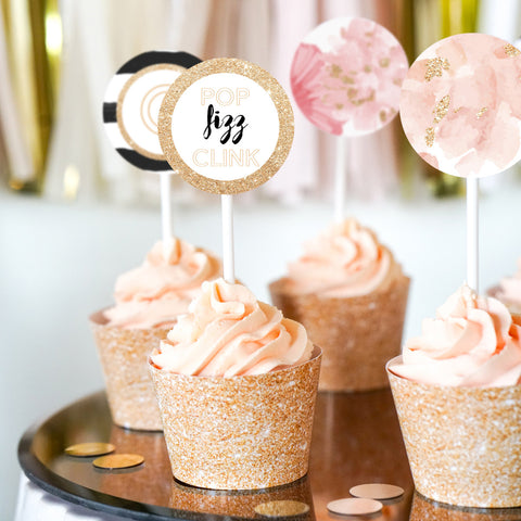 Champagne Tasting Party Cupcake Toppers and Wrappers Pop Fizz Clink