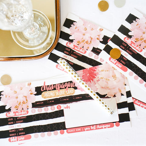 Champagne Party Black & White Tasting Cards