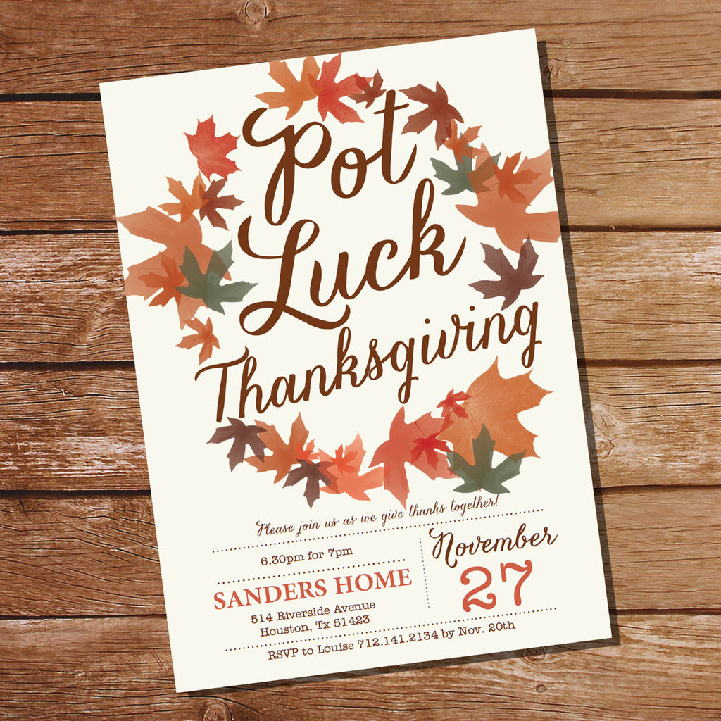 Thanksgiving Invitation | Pot Luck Thanksgiving Invitation