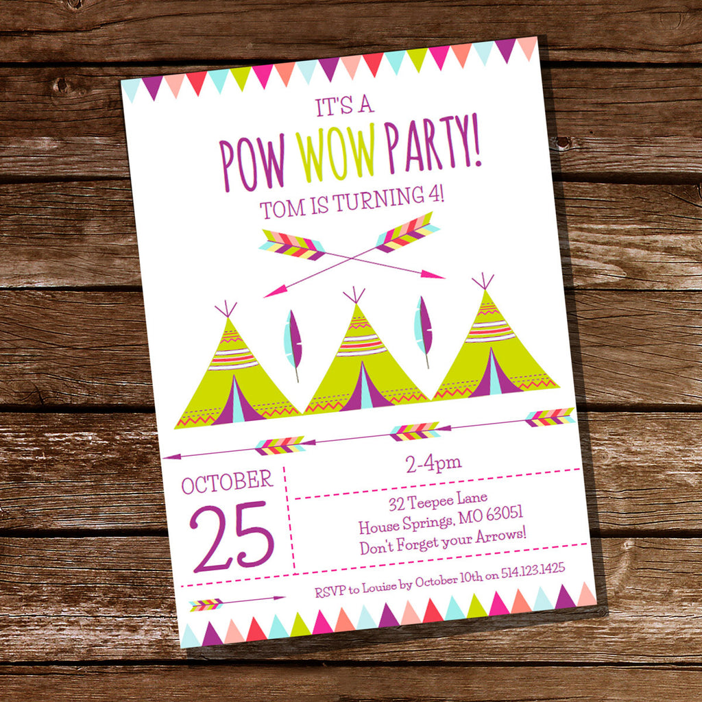 Teepee Pow Wow Birthday Party Invitation Sunshine Parties