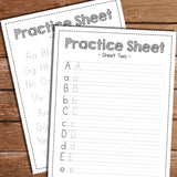 Practice sheet for learning upper and lower case letters