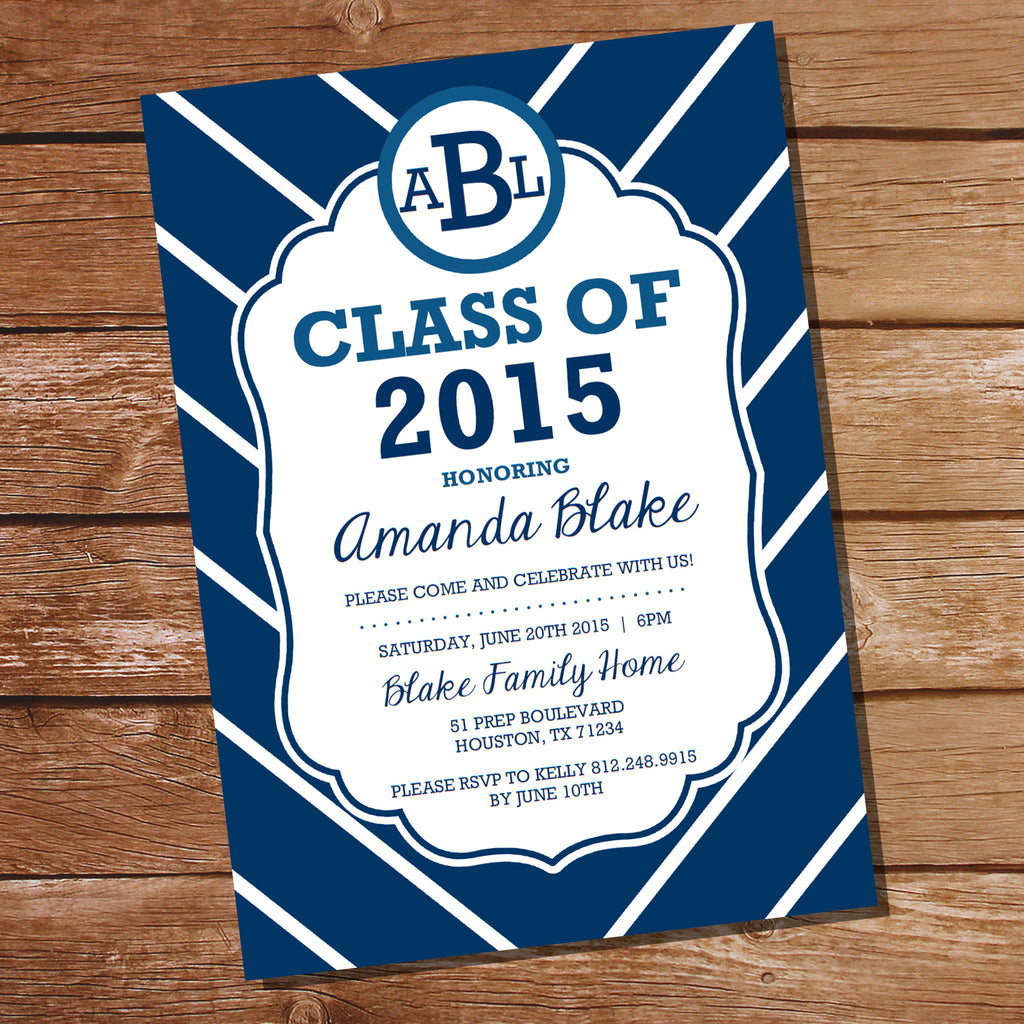 Preppy Navy Blue Graduation Invitation