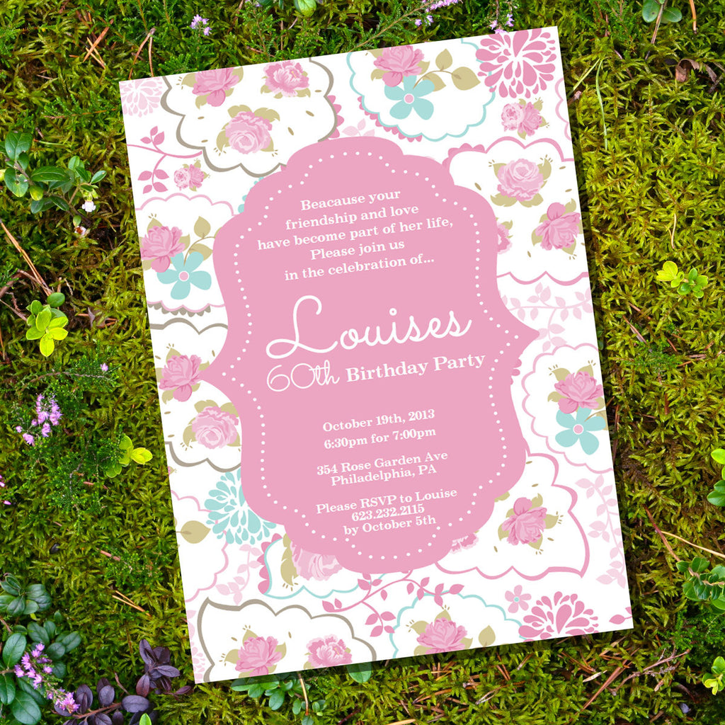 Pretty Rose Birthday Invitation | Pink Rose