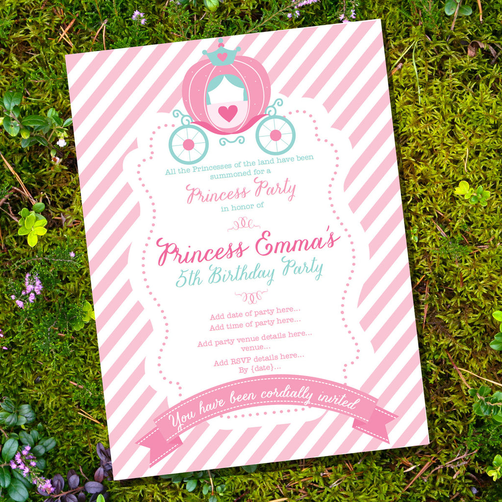 Princess Birthday Party Invitation | Cinderella Party Invite ...