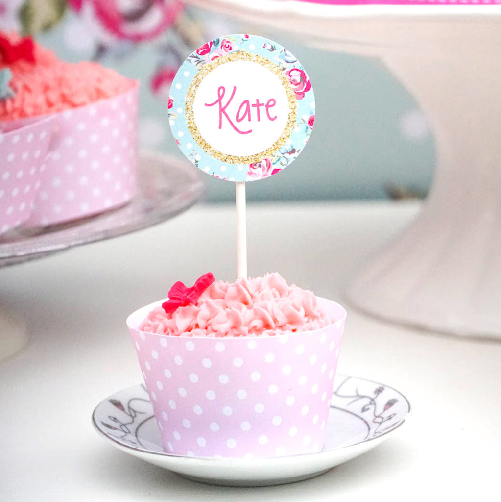 Princess Tea Party Cupcake Toppers | Cupcake Wrappers