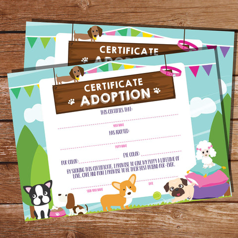Puppy Adoption Certificate