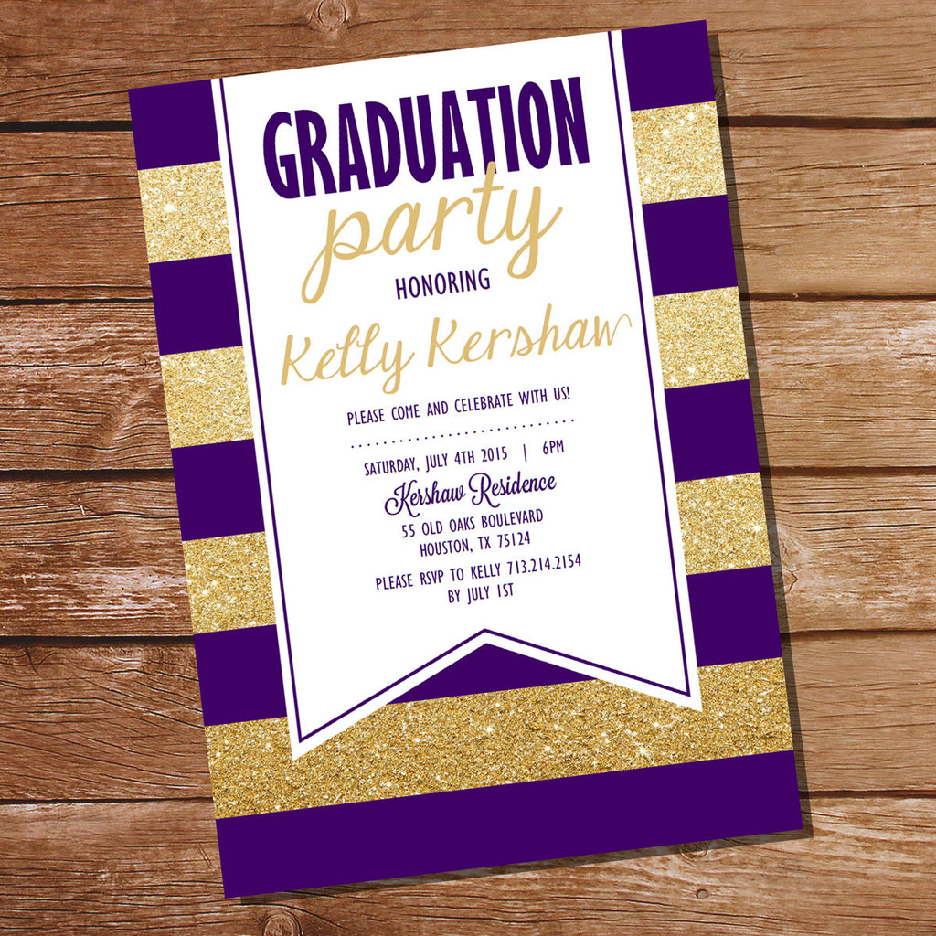 Purple and Gold Graduation Invitation