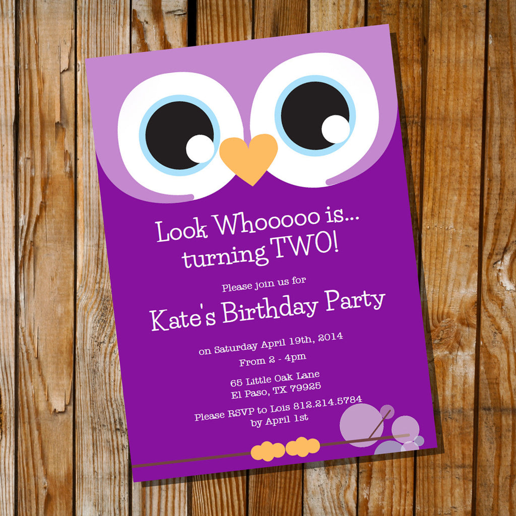 Purple Owl Birthday Party Invitation For A Girl