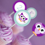 Purple Owl Birthday Party Cupcake Toppers