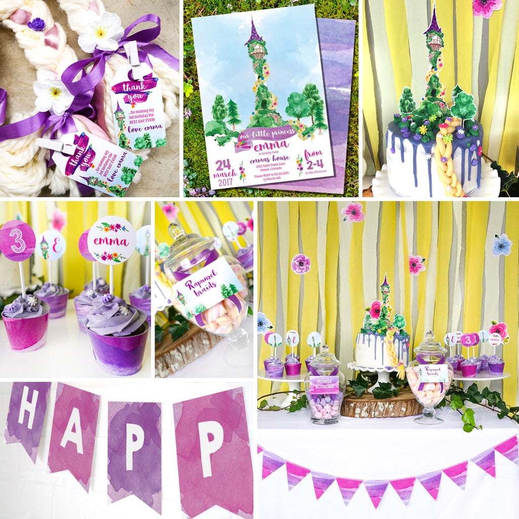 Rapunzel Birthday Party Set Rapunzel Party Invitation And