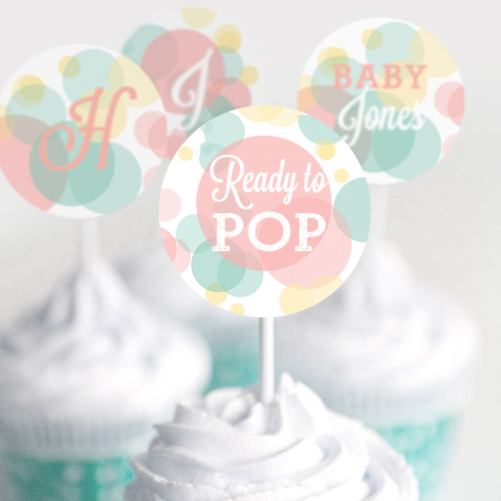 Ready To Pop Baby Shower Cupcake Toppers