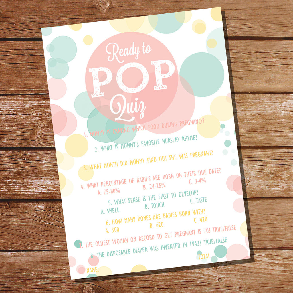 Ready To Pop Baby Shower Pop Quiz | Unisex Baby Shower Game