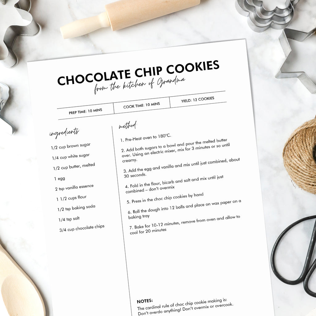 Recipe Template Editable Printable