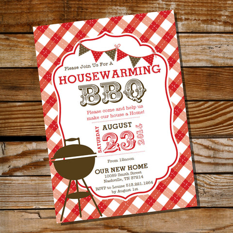 Housewarming Red Gingham BBQ Grill Party Invitation
