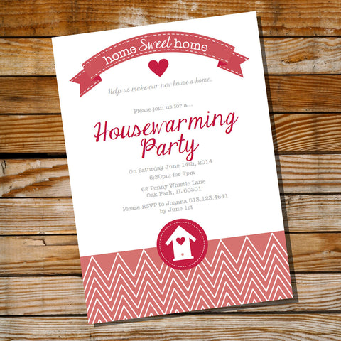 Red Housewarming Party Invitation