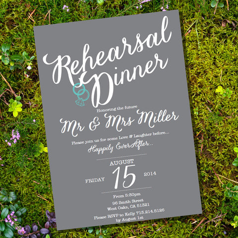 Gray Rehearsal Dinner Invitation