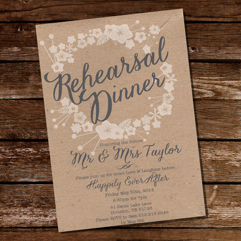 Kraft Floral Rehearsal Dinner Invitation | Rustic Rehearsal Dinner