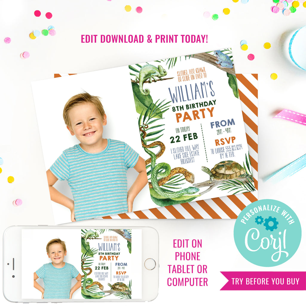 Reptile Party Birthday Photo Invitation