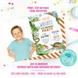 Reptile Party Birthday Picture Invitation
