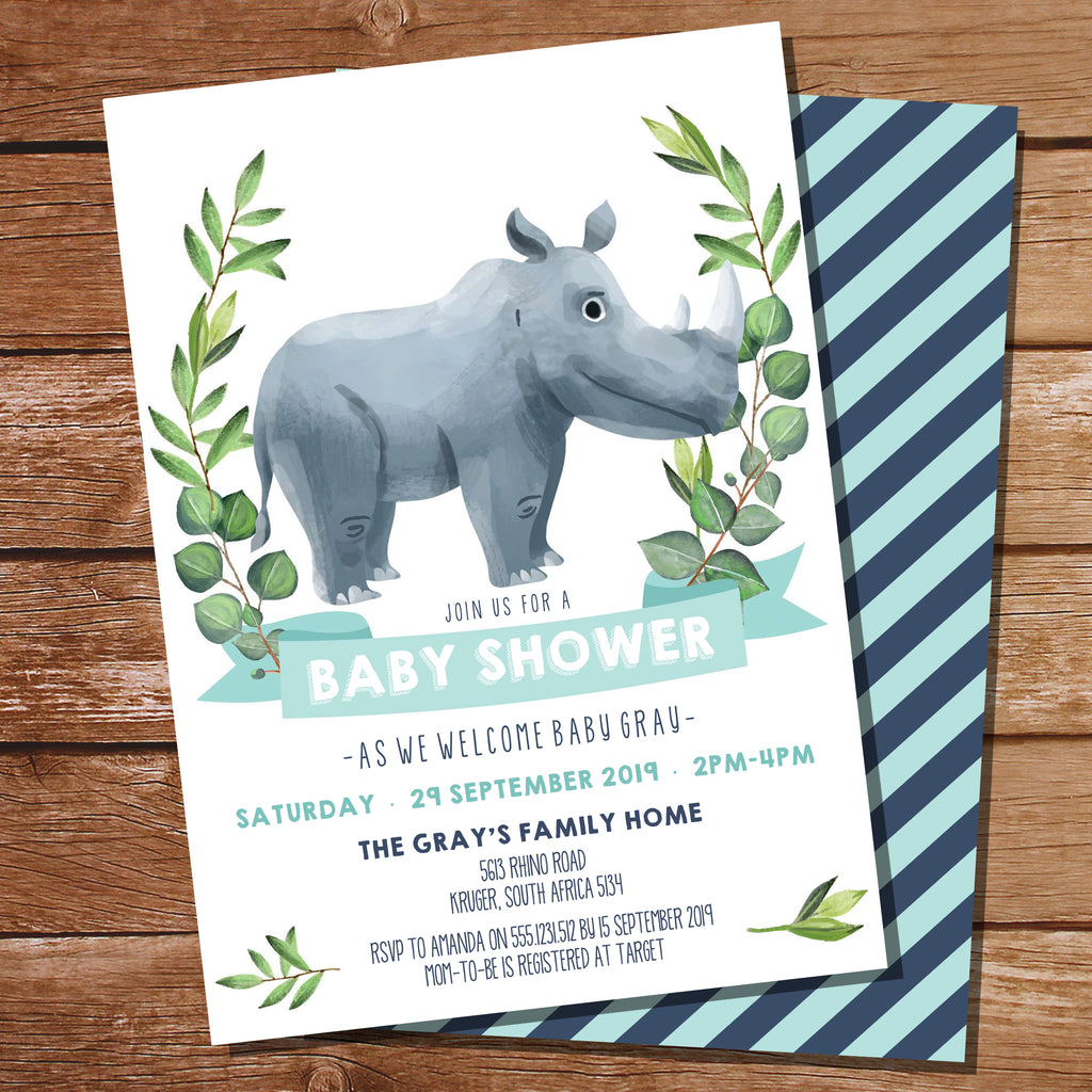Rhino Baby Shower Invitation