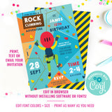 Rock Climbing Party Invitation