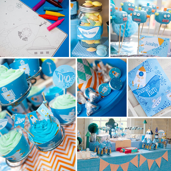 Retro Rockets and Robots Birthday Party Decorations | Space Party Decor