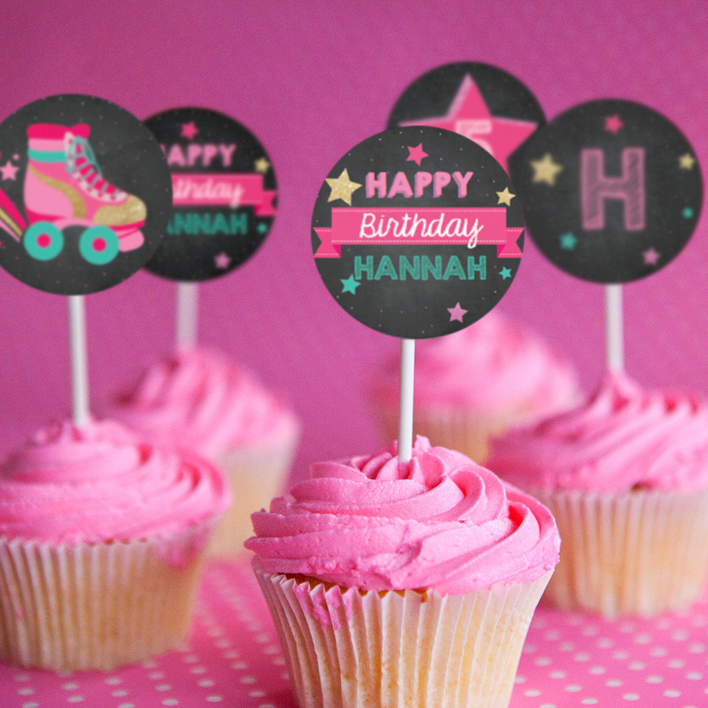 Rollerskating Party Cupcake Toppers | Retro Rollerskate Toppers