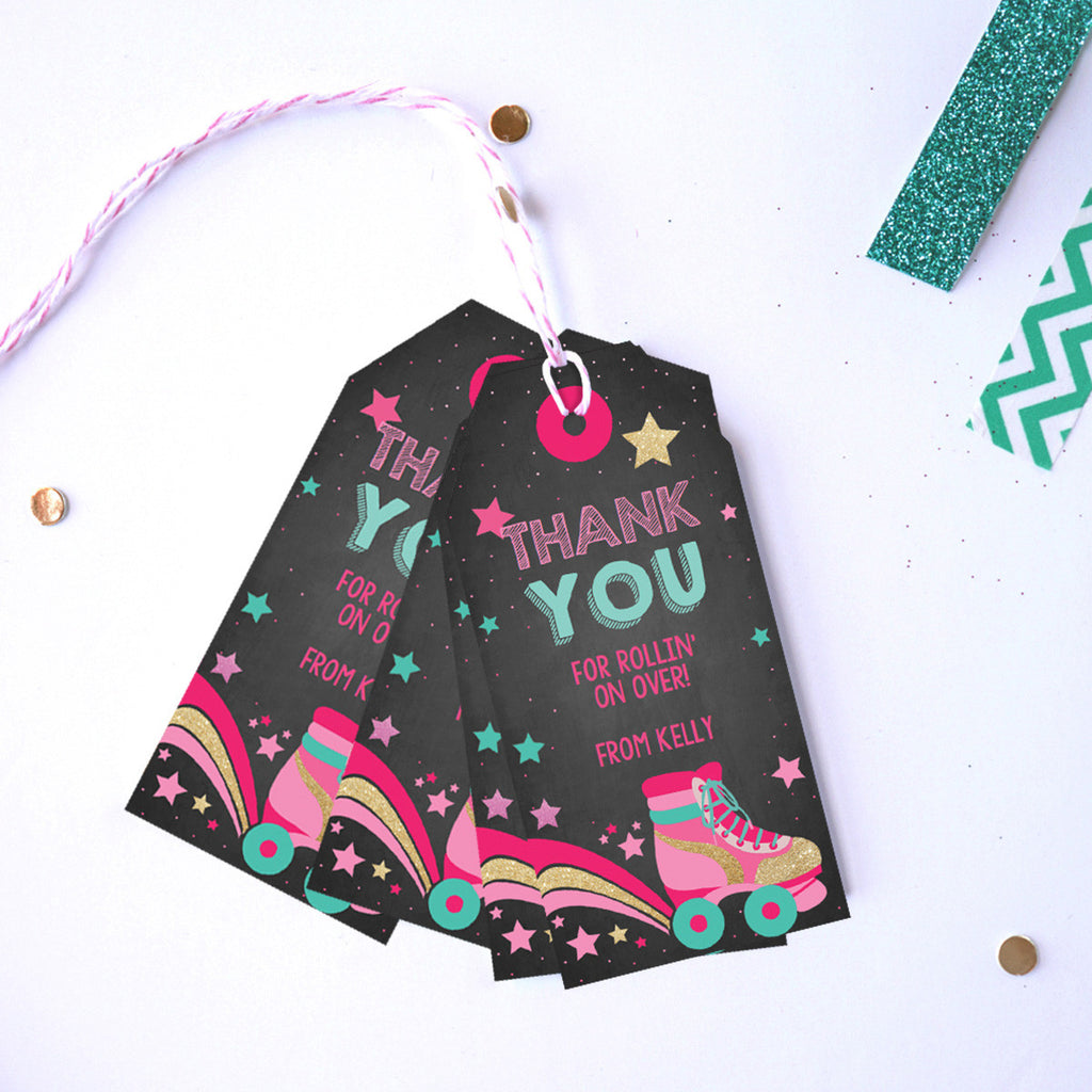 Rollerskating Party Favor Tags | Retro Rollerskate Favors