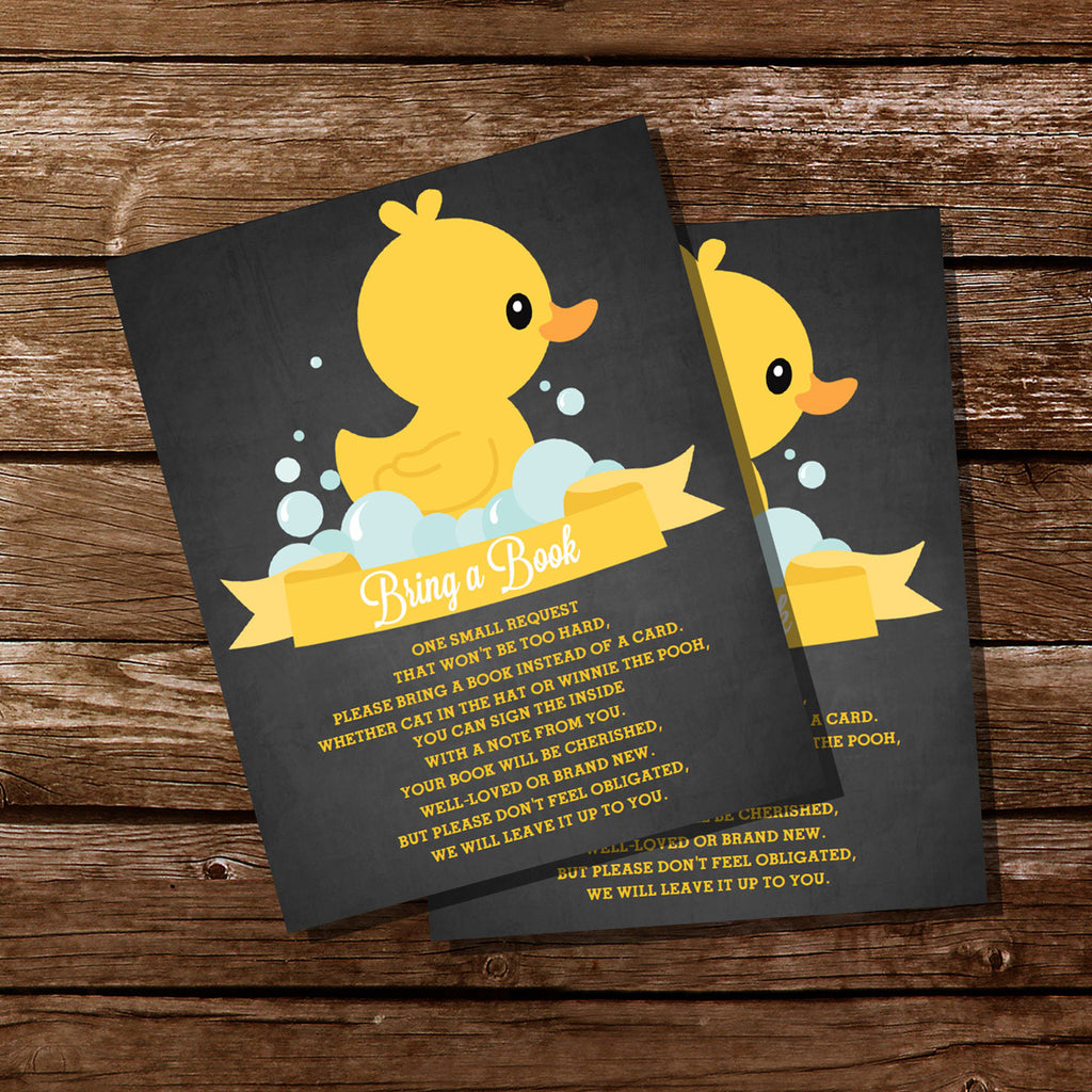 Rubber Duck Baby Shower Bring A Book Insert Card For A Girl Or Boy