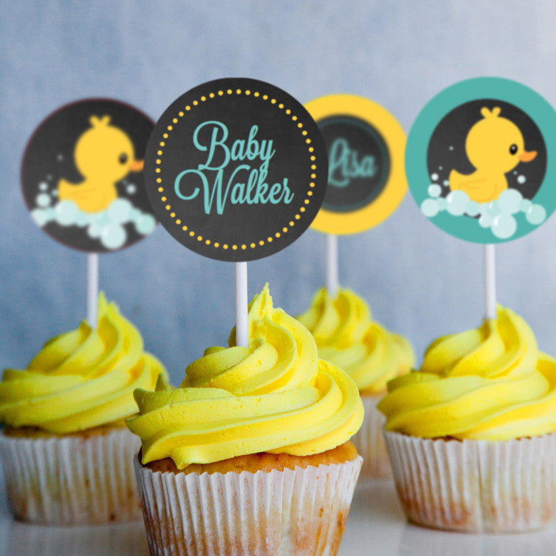 Rubber Duck Baby Shower Cupcake Toppers For A Girl or Boy