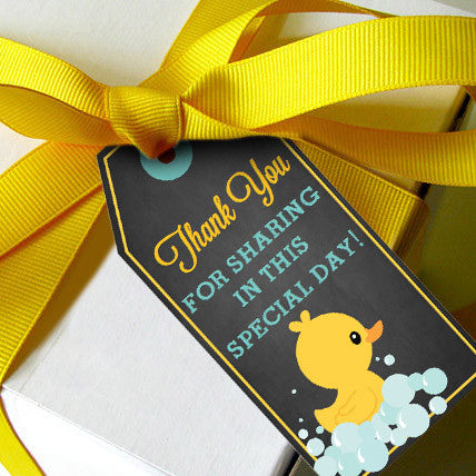 Rubber Duck Baby Shower Favor Tags For A Girl or Boy