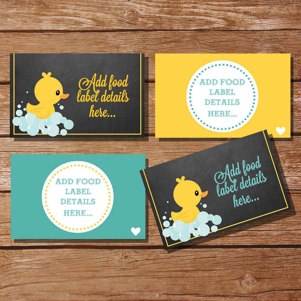 Unisex Rubber Duck Baby Shower Food Labels | Tent Cards