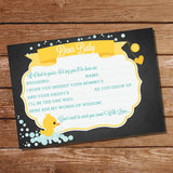 Unisex Rubber Duck Baby Shower Game Card