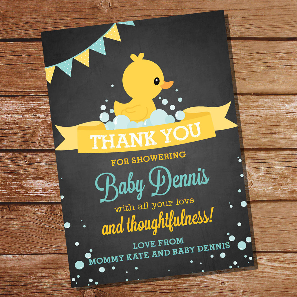 Unisex Rubber Duck Baby Shower Thank-You Card