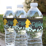 Unisex Rubber Duck Baby Shower Water Bottle Labels