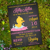 Rubber Duck Baby Shower Invitation For A Girl