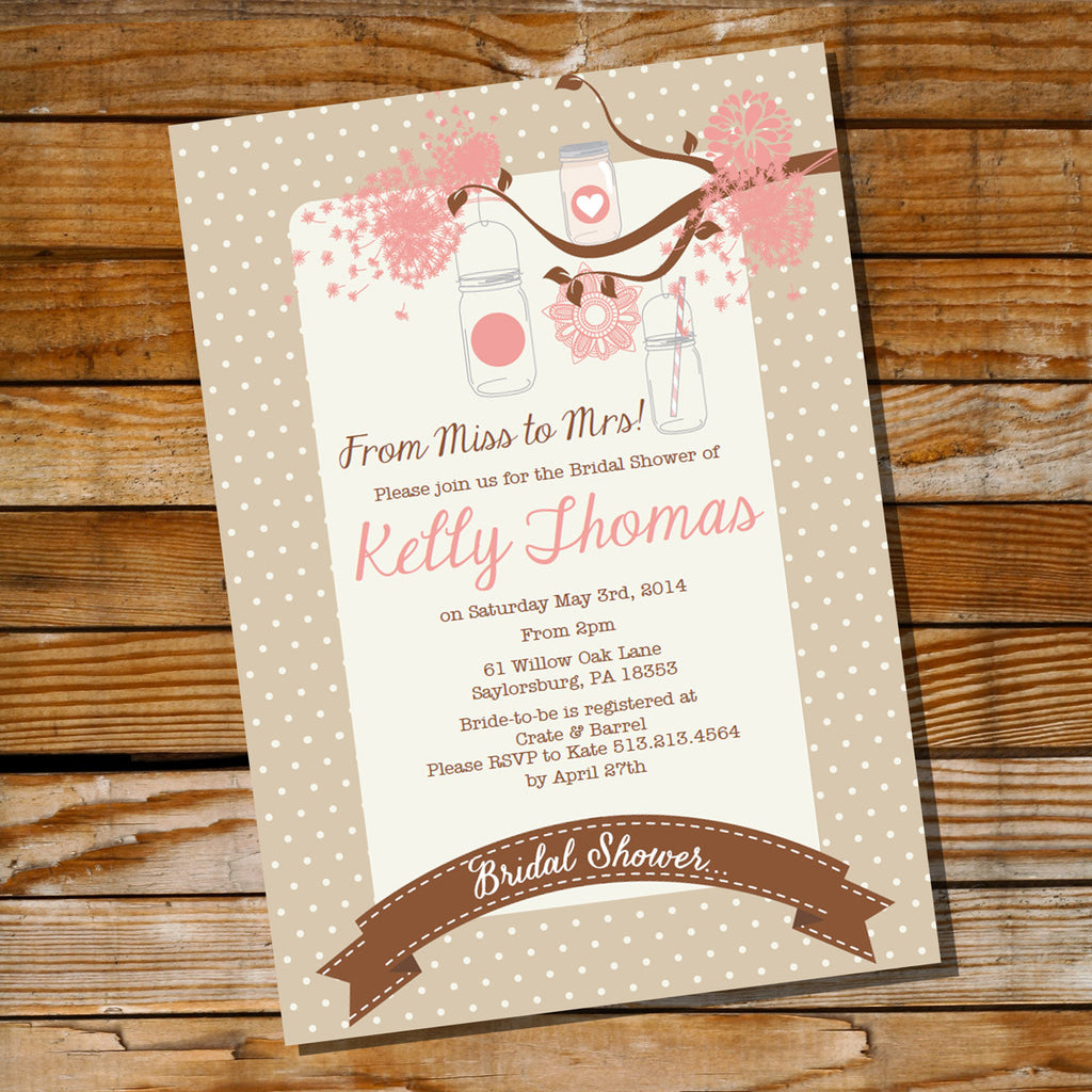 Rustic Shabby Chic Mason Jar Bridal Shower | Bachelorette Invitation